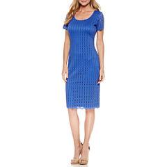 Ronni Nicole Short Sleeve Lace Eyelet Sheath Dress