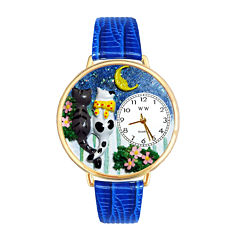 Whimsical Watches Personalized Cat Night Out Womens Gold-Tone Bezel Blue Leather Strap Watch