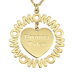 Personalized Mom and Children Heart 27mm Pendant Necklace