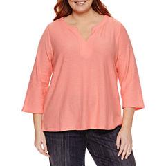 Liz Claiborne 3/4 Sleeve Split Neck T-Shirt-Womens Plus