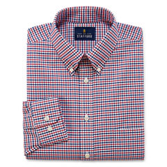 Stafford Travel Wrinkle-Free Oxford Long Sleeve Woven Gingham Dress Shirt