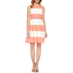 Be by CHETTA B Sleeveless Stripe Fit & Flare Dress