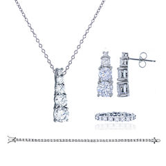Womens 4-pc. Greater Than 6 CT. T.W. White Cubic Zirconia Sterling Silver Jewelry Set