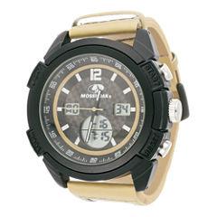 Mossy Oak® Mens Beige Camouflage Leather Strap Sport Watch