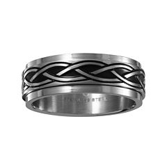 Mens 7.5mm Two-Tone Stainless Steel Weave Wedding Band