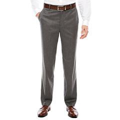 Men's J.Ferrar Stretch Gray Birdseye Flat-Front Straight-Leg Slim Fit Pants