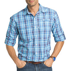 IZOD Surfcaster Plaid Roll-Sleeve Button-Front Shirt