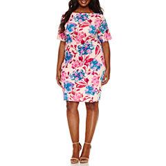 Boutique + Short Sleeve Floral Bodycon Dress-Plus