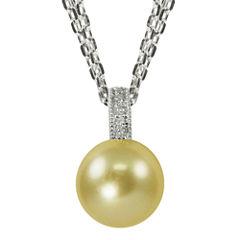 Golden South Sea Pearl & Diamond-Accent Pendant Necklace