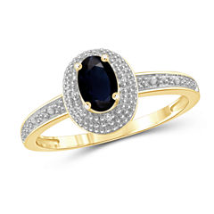 Womens Diamond Accent Genuine Blue Sapphire Gold Over Silver Halo Ring