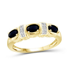 Womens Diamond Accent Genuine Blue Sapphire Gold Over Silver 3-Stone Ring