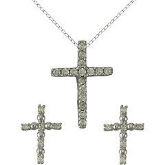 Girls Sterling Silver Cubic Zirconia Cross Pendant Necklace & Earring Set