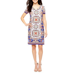 London Style Short Sleeve Pattern Shift Dress