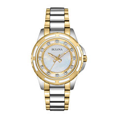 Bulova® Womens Mother-of-Pearl Dial Diamond Accent Watch 98P140