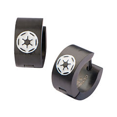 Star Wars® Black Stainless Steel Galactic Empire Cog Logo Hoop Earrings