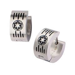 Star Wars® Stainless Steel Galactic Empire Cog and Grate Logo Hoop Earrings