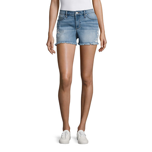 a.n.a Embroidered Denim Short (3 3/4)