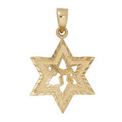 14K Yellow Gold Diamond Cut Star of David Charm
