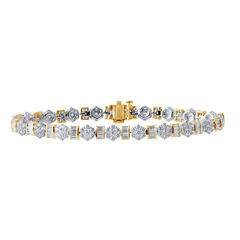 Diamond Blossom Womens 7 Inch 5 CT. T.W. White Diamond 10K Gold Link Bracelet