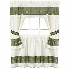 Berkshire Embellished Cottage Rod-Pocket Window Tiers & Tailored Topper Set
