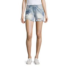 Rewash Embroidered Floral Fray Hem Shorts-Juniors