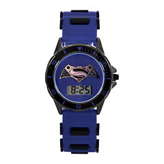 DC Comics® Batman vs. Superman LCD Dial Black and Blue Silicone Strap Watch