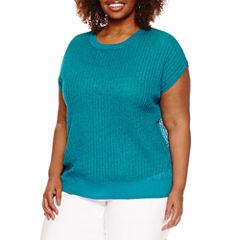 Worthington® Short Sleeve Crew Neck Pullover Sweater - Plus