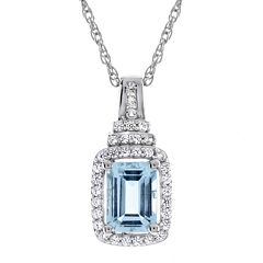 Genuine Aquamarine & Lab-Created White Sapphire Pendant