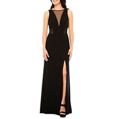 R&M Richards Sleeveless Sheer-Inset Formal Gown