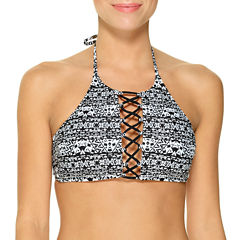 Ambrielle Geo Linear High Neck Swimsuit Top