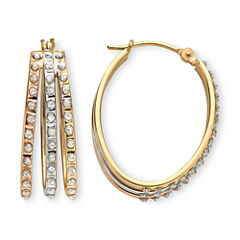 Diamond Fascination™ 14K Tri-Tone Gold Triple Hoop Earrings