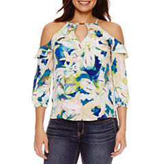 Bold Elements Ruffle Keyhole Cold Shoulder Top
