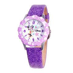 Disney Minnie Mouse Glitz Tween Purple Leather Strap Watch
