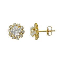 Cluster Flower Cubic Zirconia Stud Earrings 14K Gold