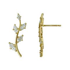 Petite Lux™ Cubic Zirconia Leaf Crawler Drop Earrings