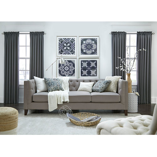 JCPenney Home Made-To-Length Matte Satin Rod-Pocket Blackout Lined Curtain Panel