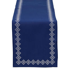 Design Imports Mosaic Tile Embroidered Table Runner