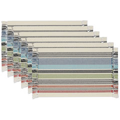 Design Imports Mediterranean Stripe Fringed Set of 6 Placemats