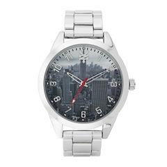 Zoo York® Mens Silvertone Graphic Bracelet Watch