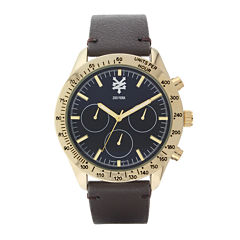Zoo York® Mens Brown And Goldtone Leather Strap Watch