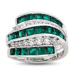 Womens Lab Created Green Emerald Sterling Silver Cocktail Ring