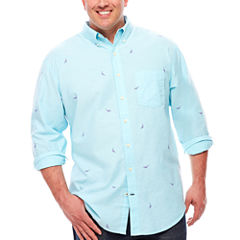 IZOD Long Sleeve Animal Button-Front Shirt-Big and Tall