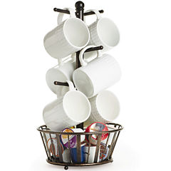 Gourmet Basics by Mikasa® Band & Stripe Mug Tree with Bottom Basket