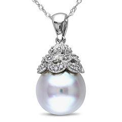 Genuine South Sea Pearl and Diamond Accent Pendant