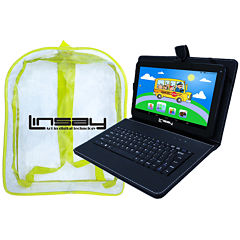 LINSAY® New 10.1'' Quad Core 1024x600HD 8GB Tablet with Black Leather Keyboard Case and a Kids Bag Pack