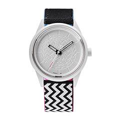 Smile Solar Unisex Black/White Zig Zag Strap Watch