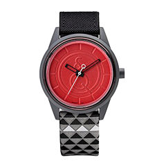 Q&Q SmileSolar Black/Red Triangle Strap Watch