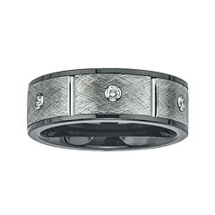 Mens 1/5 CT. T.W. Diamond, Ceramic and Tungsten Band Ring