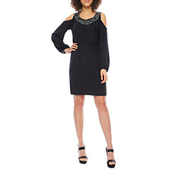 Dakota Long Sleeve Cold Shoulder Embellished Blouson Dress