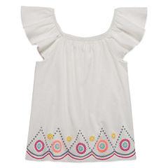 Arizona Square Neck Short Sleeve Blouse - Preschool Girls